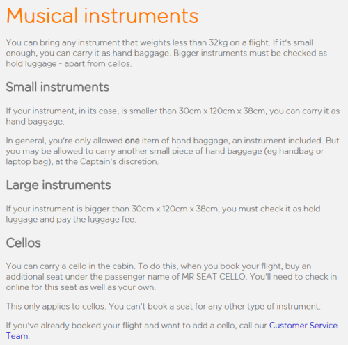 My edit of Easyjet's musical instrument policy