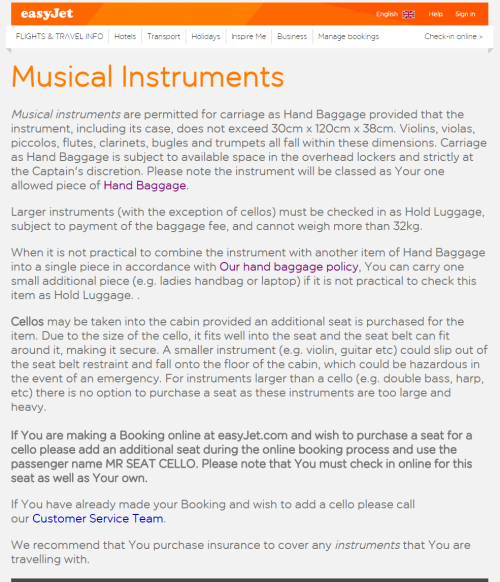 Easyjet musical instrument policy