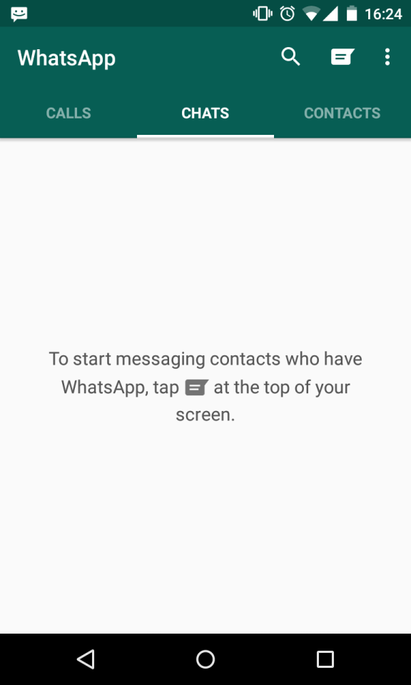 To start messaging contacts who have WhatsApp, tap (button image) at the top of your screen