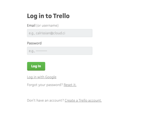 The Trello login screen